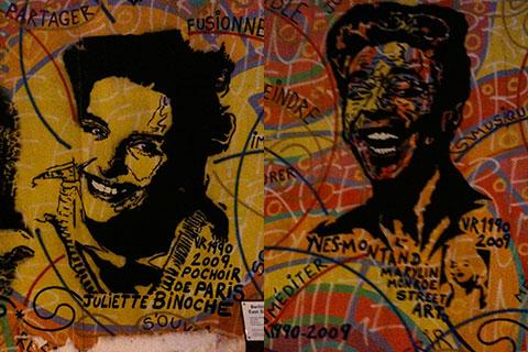Juliette Binoche et Yves Montand sur le Mur de Berlin © vincy thomas