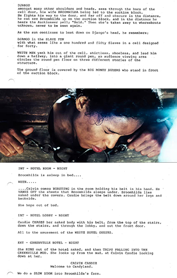 django unchained screenplay scénario kerry wahsington