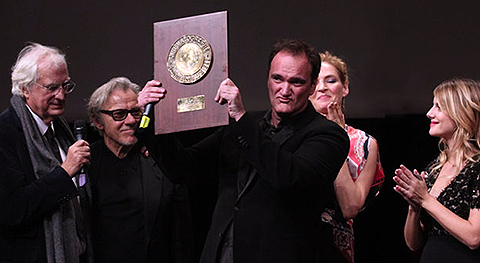 Quentin Tarantino entouré de Tavernier, Keitel, Thurman et Laurent