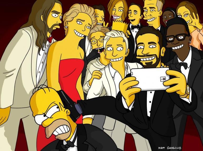 les simpsons parodient le selfie d'ellen de generes des oscars