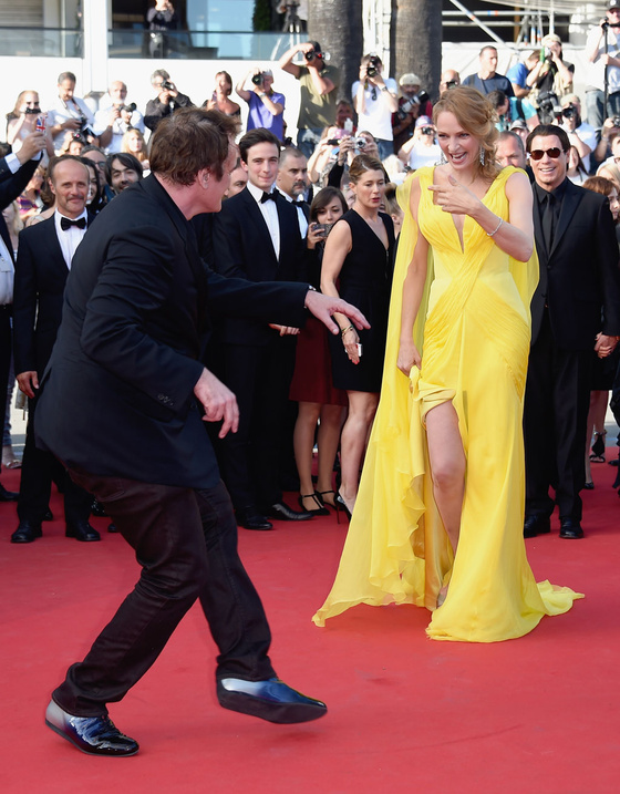 quentin tarantino uma thruman red carpet cannes 2014