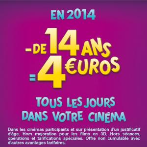 4 euros pour les moins de 14 ans